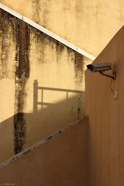 A Minimalist Photograph of a Security Camera placed at Jantar Mantar, Jaipur