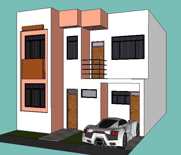Fachadas y casas casas con frentes de seis metros for Fachadas de casas de 5 metros de ancho
