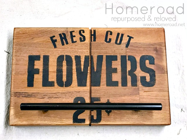 DIY Towel Hangers using Old Sign Stencils and Cabinet Hardware