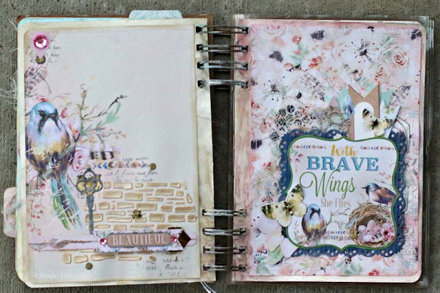 Art Journal Pages featuring Serendipity Collection by BoBunny and Pentart Stencil Pastes designed by Rhonda Van Ginkel