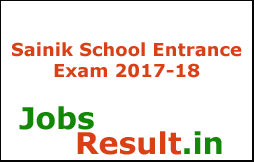 Sainik School Entrance Exam 2017-18