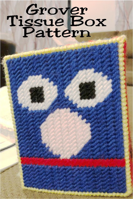 Decorate your Sesame Street nursery with this Grover plastic canvas tissue box pattern.  Simply sew the top and sides for a fun decoration.  #sesamestreet #grover #diypartymomblog #plasticcanvaspattern #tissuebox