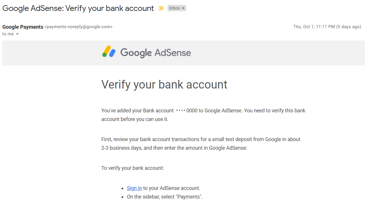 Google AdSense: Verify your bank account
