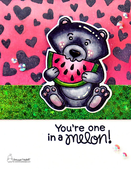 You're One in a Melon by Larissa Heskett for Newton's Nook Designs using Newton's Melon, Woodland Picnic, Tumbling Hearts Stencil and Fancy Edges Tag Die  #newtonsnook #newtonsnookdesigns #newtonsmelon #woodlandpicnic #watermelongiftset