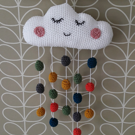 Crochet cloud, crochet baby mobile | Happy in Red