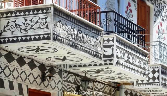 geometryczne zdobienia balkonów, ksista, pyrgi, grecja