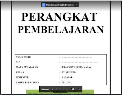 Download Lengkap Perangkat Pembelajaran Prakarya (Rekayasa) Kelas 7 Kurikulum 2013