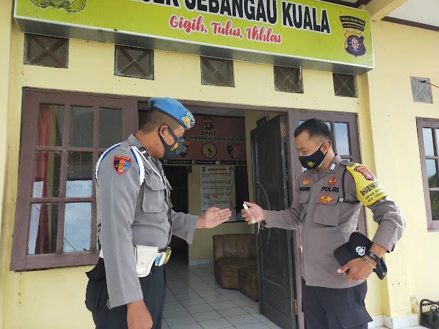 Kanit Provos Polsek Sebangau Kuala Tertibkan Anggota Polsek Patuhi Prokes, Ini Yang Di Lakukan