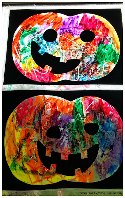 Mess Free Painting Suncatcher Pumpkins - Crafts for Toddlers