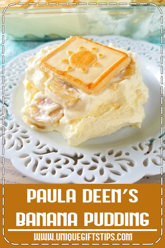 This iconic recipe using cream cheese and sweetened condensed milk isn't the Banana Pudding you grew up with but it's a classic for a reason - it's insanely delicious! If you're a lover of layered desserts, you have to try Paula's Not Yo' Mama's Banana Pudding! #bananapudding #layered #dessert #recipe #pauladeen