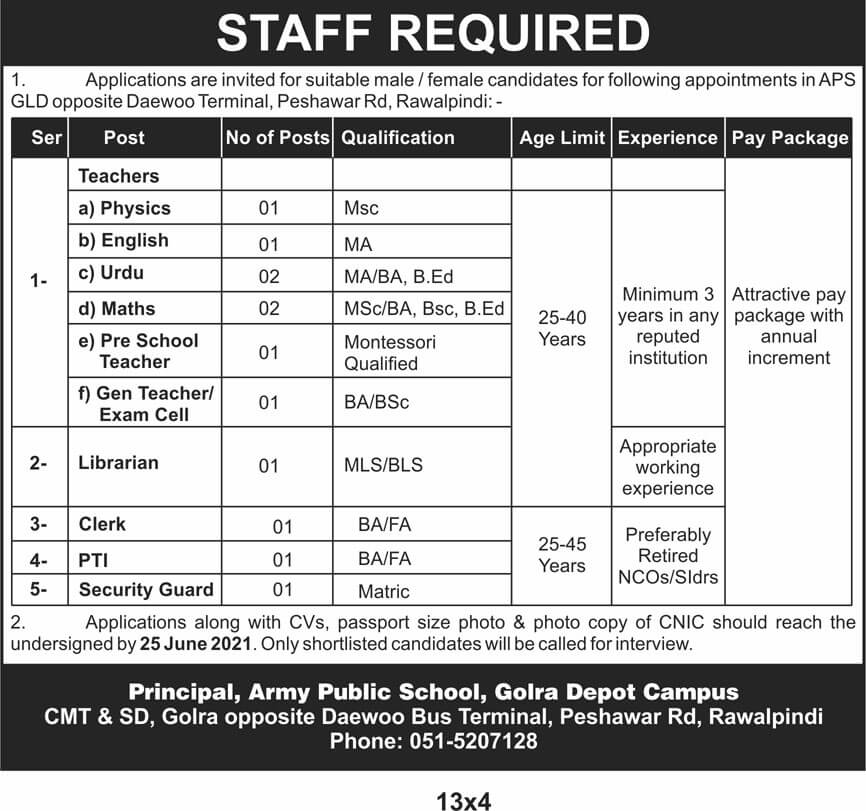Army Public School APS Rawalpindi Jobs Latest 2021