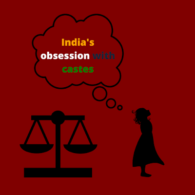 Illustration of a woman thinking about India's obsession with the caste system.