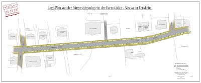 Lage-Plan der Bürgersteiganlage in der Darmstädter Strasse in Bensheim, 1912, Stadtarchiv Bensheim, digitalisierte Neuauflage