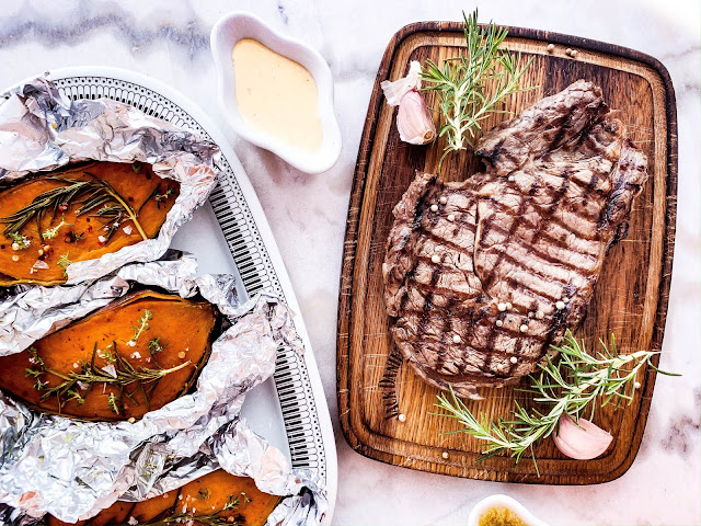 Beef Steak with baked sweet potato and Hollandaise sauce
