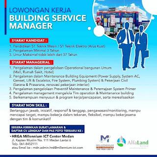 Building Service Manager di Millenium ICT Center Medan