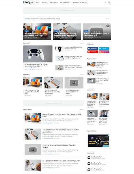 Free Download Litespot Premium Blogger Template v2.0