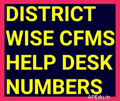 DISTRICT WISE CFMS HELP DESK NUMBERS