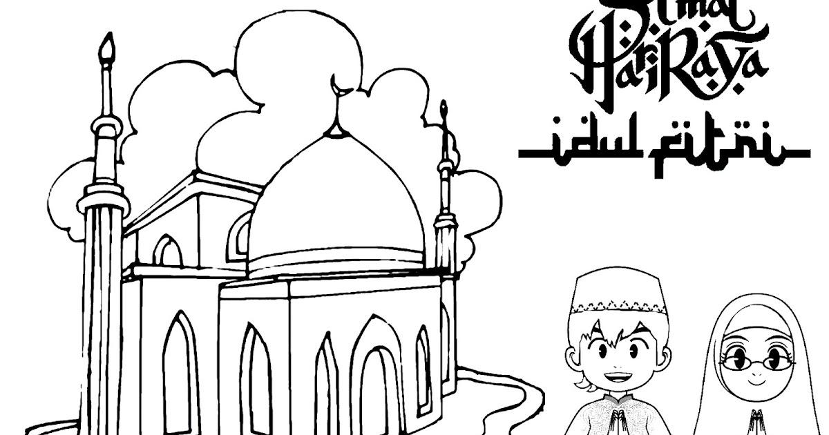 Gambar Mewarnai Gambar Mewarnai Lebaran Hari Raya Idul Fitri