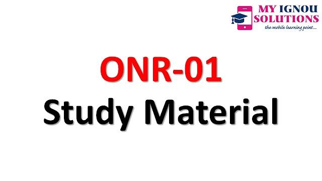 IGNOU ONR-01 Study Material