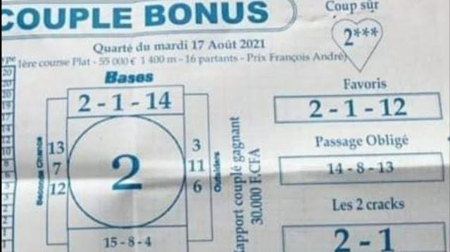 Pronostics quinté+ pmu mardi Paris-Turf-100 % 17/08/2021