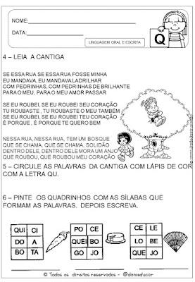 Atividades de alfabetização, atividades do alfabeto, Letra Q, lingua portuguesa, sistema de escrita alfabética,