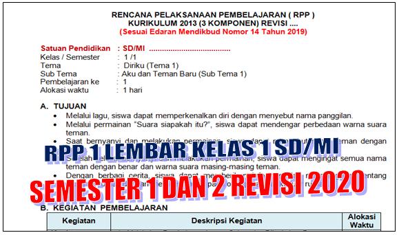 RPP 1 Lembar Kelas 1 SD/MI Semester 1 dan 2 Revisi 2020