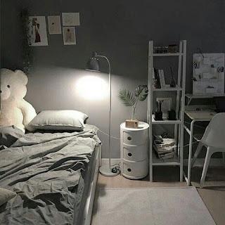 Dekorasi kamar Tidur Cewek  Abu