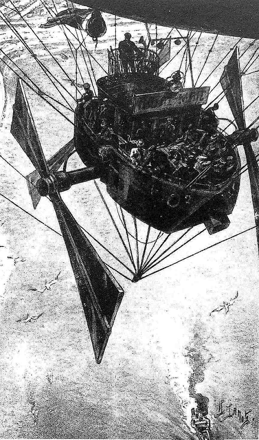 Albert Robida 1883, a flying machine