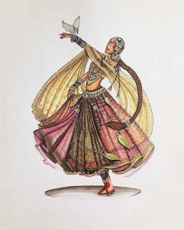 11-Indian-Dress-Drawings-Anoopbarwa-www-designstack-co