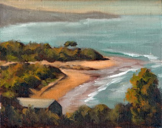 Oil painting of a coastal river mouth surrounded by low-lying trees and shrubs.