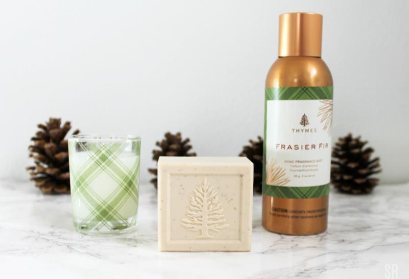 Thymes Frasier Fir home fragrance on a table
