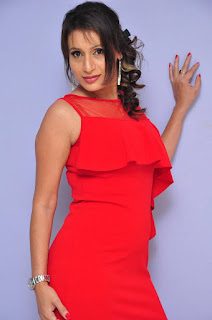 Actress Sonia Chowdary  Pictures in Red Dress at Lover Boy Audio Launch  0001