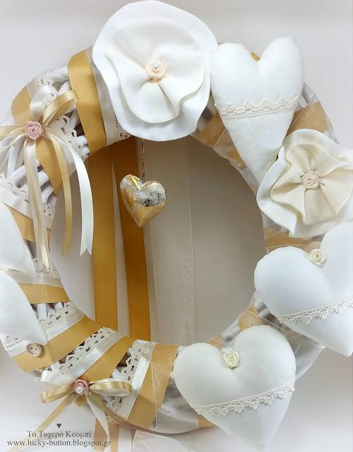 Χειροποίητο διακοσμητικό στεφάνι γάμου σε boho κσι vintage στηλ
