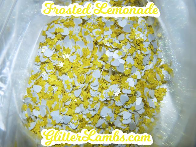 """Glitter Lambs """"Frosted Lemonade"""" Loose Glitter Mix Craft Glitter Nail Art Glitter White Hearts Mini Yellow Stars Glitter"""