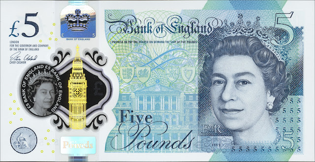 Great Britain New Fiver 5 Pound Sterling note 2016 Queen Elizabeth II