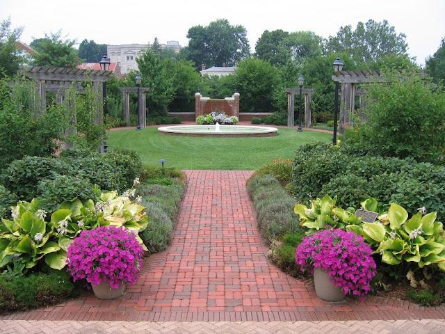 Stately Symmetry backyard landscaping ideas