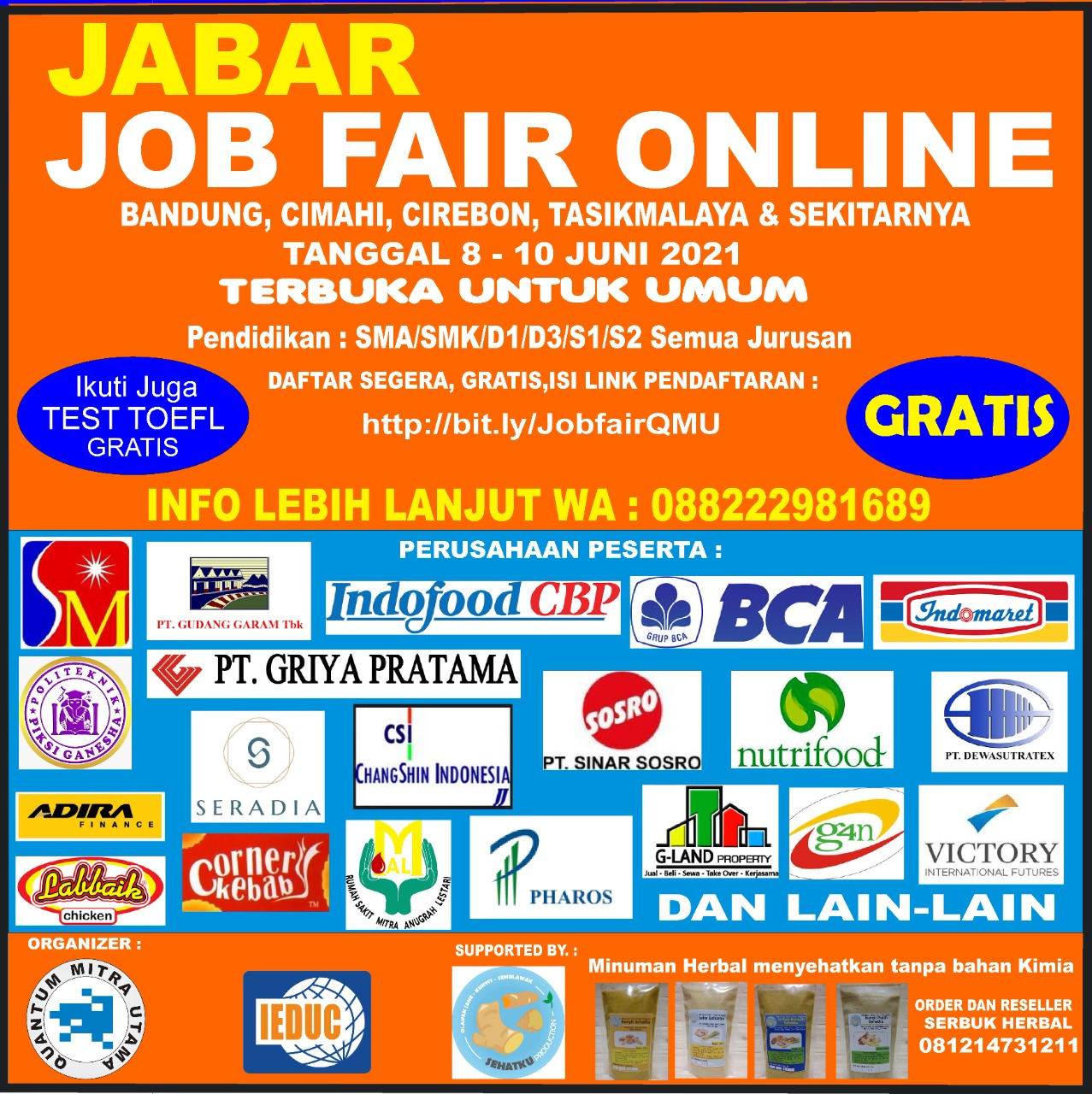 Jabar Job Fair Online 8 - 10 Juni 2021