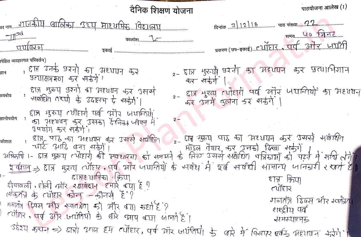 EVS Lesson Plan in Hindi | B.ed | D.el.ed.