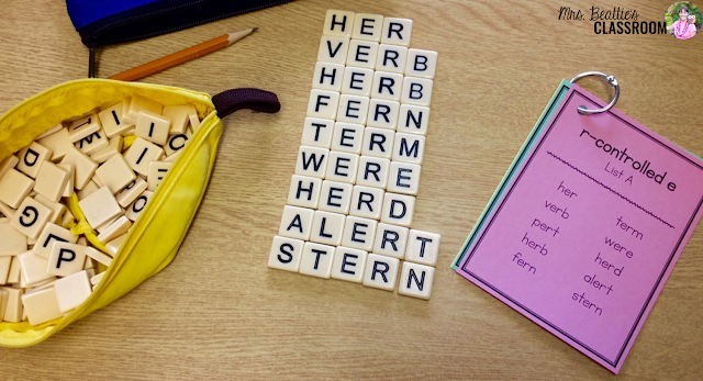 Photo of Bananagrams center with word lists.