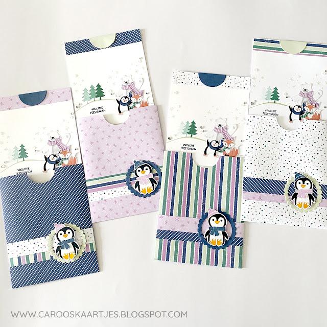 Pocket kaarten gemaakt met de stempelset Pinguïnpret van Stampin' Up!