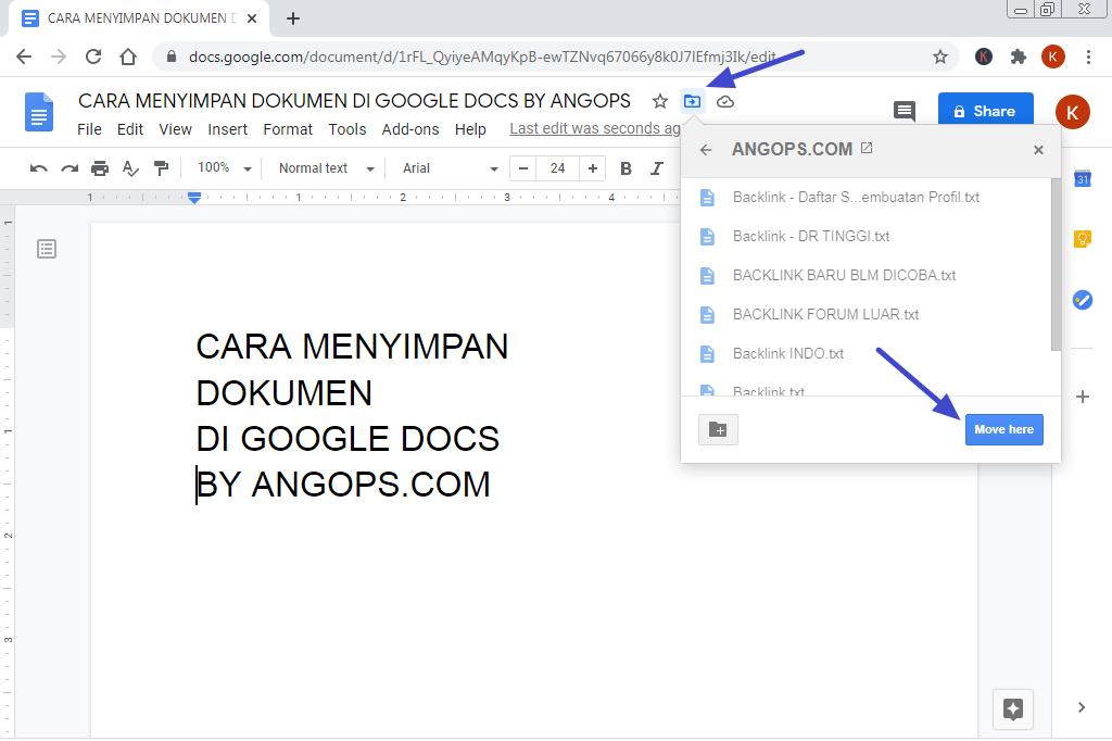 menyimpan file di google docs