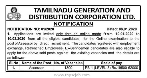 TNEB Assessor Job 2020 www.governmentdailyjobs.com