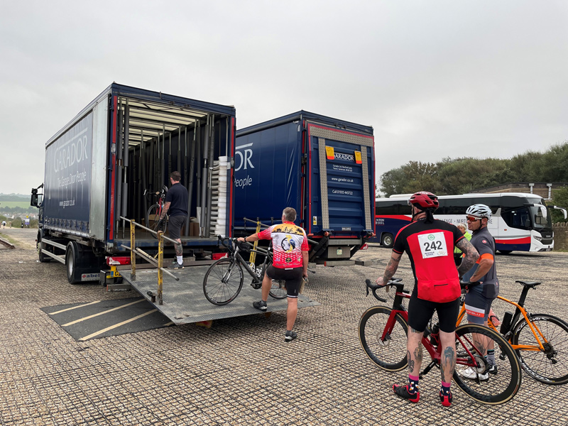Garador providing transport for cyclists bikes at the 2021 Coast to Coast Cycle Challenge