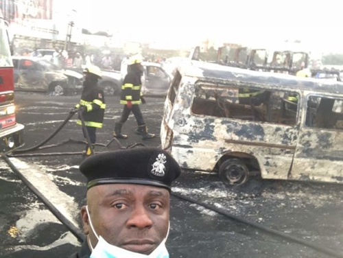 New Photos from Otedola Bridge Tanker Explosion Scene in Lagos After The Disaster