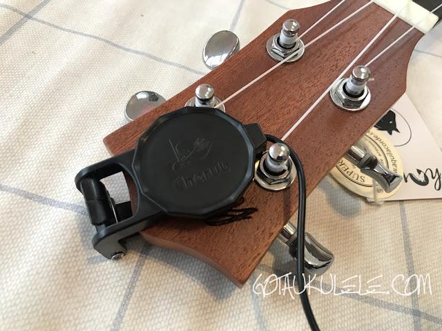 cherub ukulele pickup on headstock