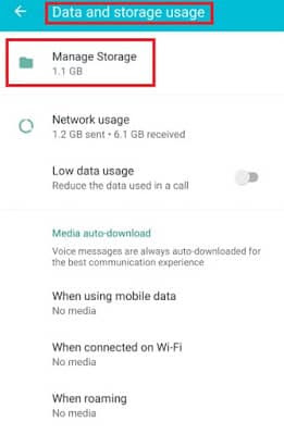 WhatsApp Tricks-Manage storage usage