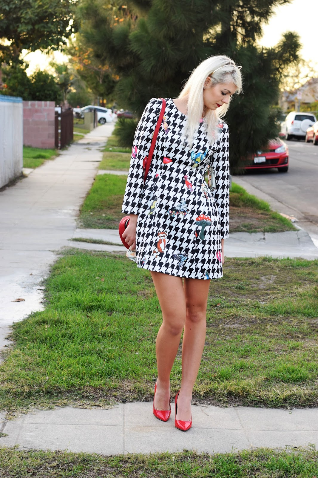 Stylewe, Forever 21, houndstooth, houndstooth plaid, houndstooth dress, german blondy, red heels