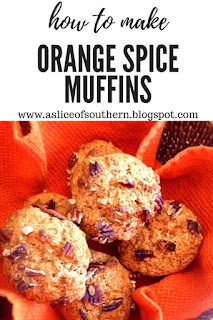 Orange Spice Muffins: Warm and toasty spices mixed with vibrant orange bring in the flavors of fall to your morning meal! - Slice of Southern