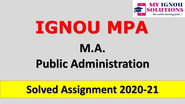 MPA Solved Assignment 2020-21