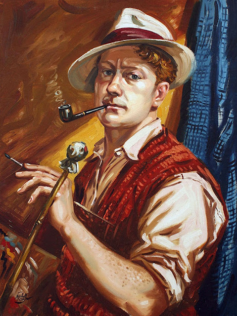 Leonard Victor Mitchell, Self Portrait, Portraits of Painters, Fine arts, Portraits of painters blog, Paintings of Leonard Victor Mitchel, Painter Leonard Victor Mitchell
